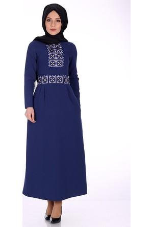 Reference Önü İşlemeli Elbise 5003 - Gece Mavi