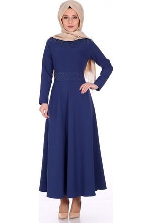 Reference İnci İşlemeli Elbise 5018 - Gece Mavi