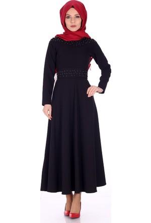 Reference İnci İşlemeli Elbise 5018 - Siyah