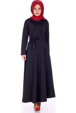 Reference Yakası Dantel Detay Elbise 6002 - Siyah