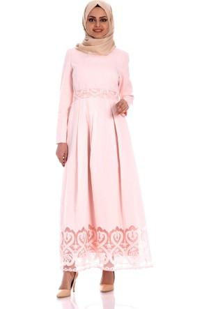 Zermoda Yakma Desen Elbise 6093 - Pudra