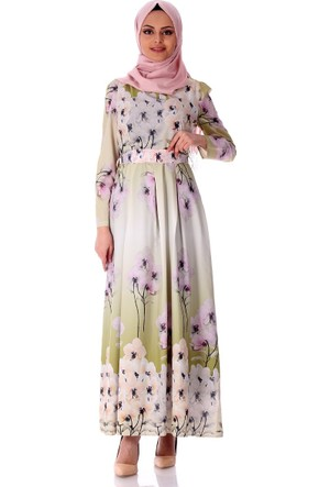 Zermoda Çiçekli Elbise 6094 - Yeşil
