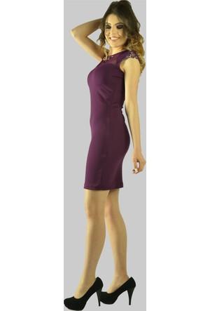 Modamla Omzu Küpürlü Tül Detaylı Kısa Elbise