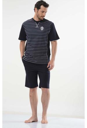 Cacharel 2111 Çizgili Bisiklet Yaka Bermuda Erkek Pijama Takımı