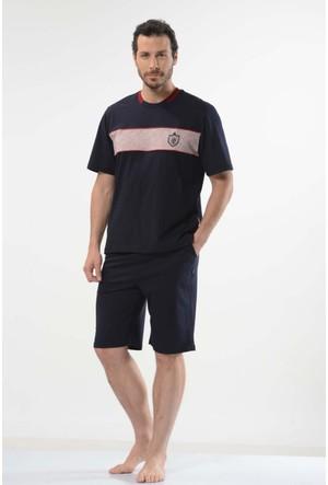 Cacharel 2121 İnce Çizgili Bisiklet Yaka Bermuda Erkek Pijama Takımı