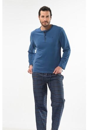 Cacharel 2130 Düz Uzun Kol Poplin Erkek Pijama Takımı