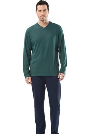 Cacharel 2149 Empirme Baskılı V Yaka Uzun Kol Erkek Pijama Takımı