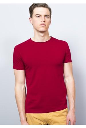 Adze Erkek Bordo Bisiklet Yaka T-Shirt