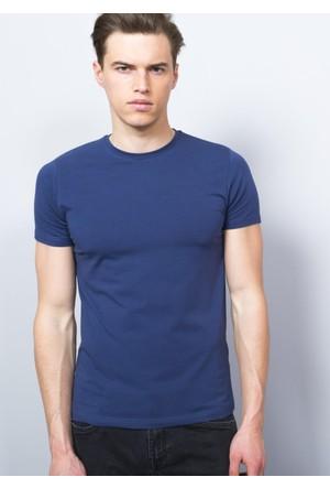 Adze Erkek İndigo Bisiklet Yaka T-Shirt