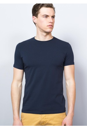 Adze Erkek Lacivert Bisiklet Yaka T-Shirt
