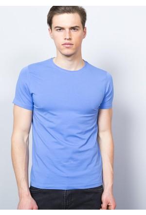 Adze Erkek Mavi Bisiklet Yaka T-Shirt