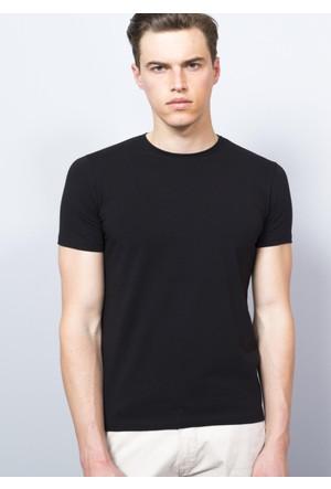 Adze Erkek Siyah Bisiklet Yaka T-Shirt