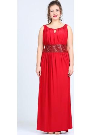 Angelino Butik Kl5089 Kırmızı Abiye Elbise