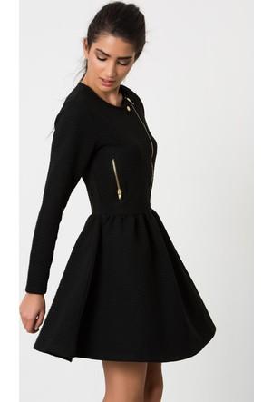 Heva Siyah Fermuarlı Kapitoneli Cepli Elbise