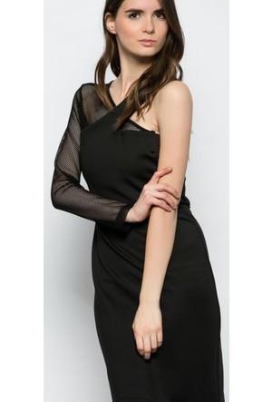 Heva Kolu Fileli Detaylı Elbise