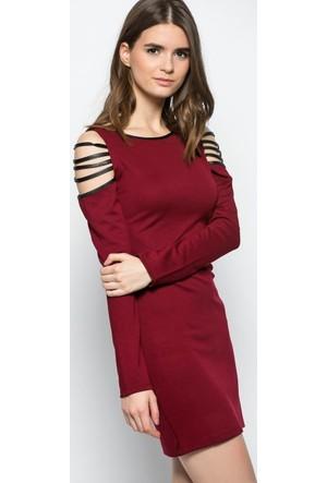 Heva Kolları Deri Şeritli Elbise