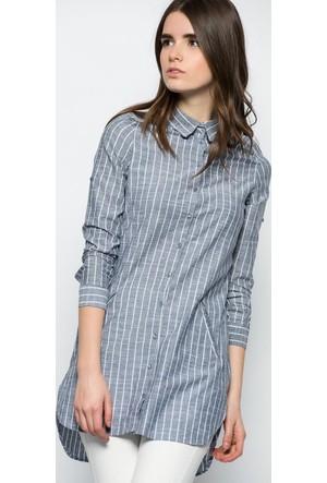 Heva Çizgili Önü Cepli Tunik Gömlek