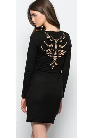 Heva Sırtı Lazer Kesim Elbise