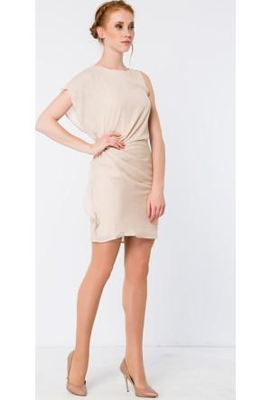 Heva Önü Pileli Şifon Elbise
