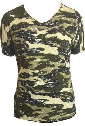 Virage New Stil Kamuflaj Erkek Likralı V Yaka T-Shirt