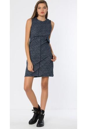 Heva Biye Şeritli Cepli Arkası Fermuarlı Elbise