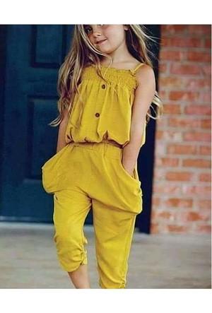 Ertuğ İp Askılı Yazlık Kız Çocuk Elbise Sarı
