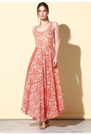 Quincey Pamuklu Elbise Turuncu EB2476