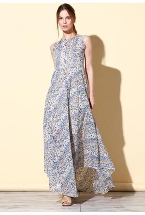 Quincey Şifon Elbise Gri EB2468