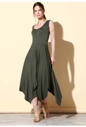 Quincey Viskon Elbise Yeşil EB2466