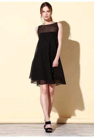 Quincey Şifon Elbise Siyah EB2473