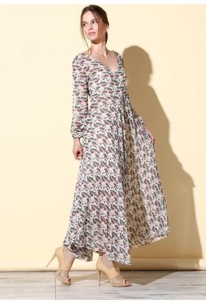 Quincey Şifon Elbise Bej EB2459