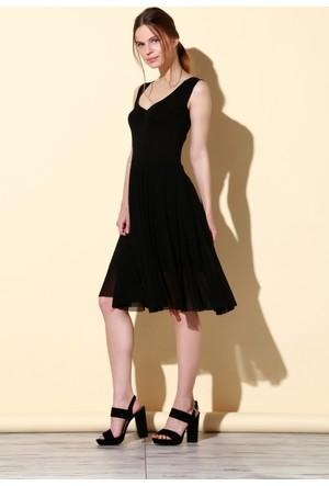Quincey Tül Etekli Elbise Siyah EB2462