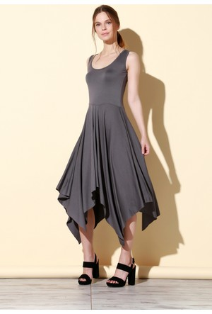 Quincey Viskon Elbise Gri EB2467