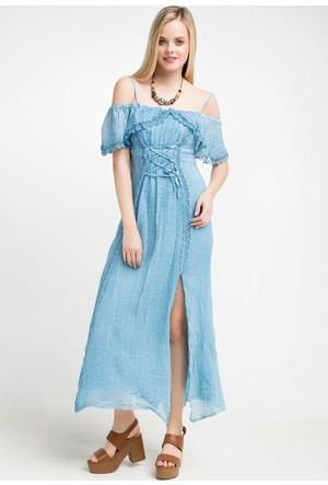 Zer Otantik Omuz Detaylı Yıkamalı Elbise