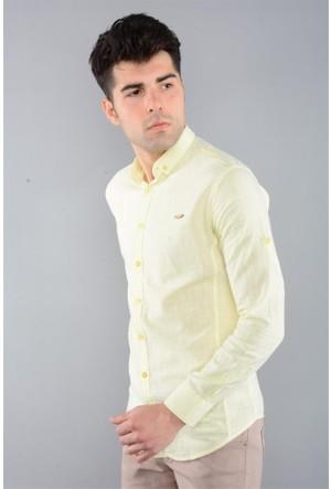 Rodin Hills Sarı Erkek Gömlek Keten Kulplu 9063