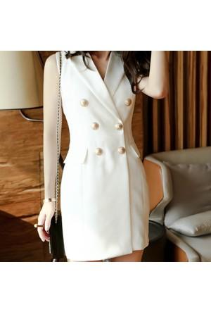 Tailor Düğme Detaylı Elbise / Ceket