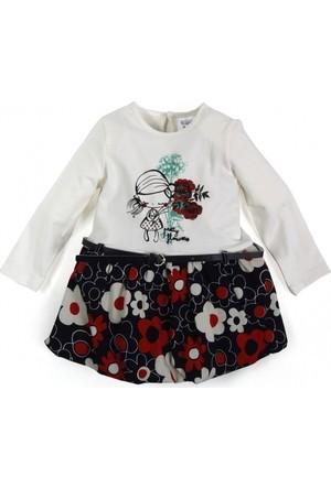 Soobe Kız Bebek Uzun Kol Elbise Beyaz
