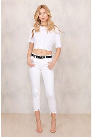 Modamarka-Shop Metal Aksesuar Detaylı Beyaz Kot Pantolon