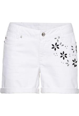 Bodyflirt Kadın Beyaz Must Have: Çiçek İşlemeli Jean Şort