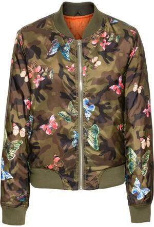 Bodyflirt Kadın Yeşil Baskılı Bluzon Ceket