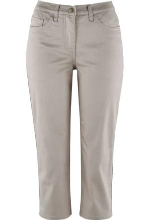 Bpc Bonprix Collection Gri Yüksek Belli Jean Görünümlü Kapri Pantolon