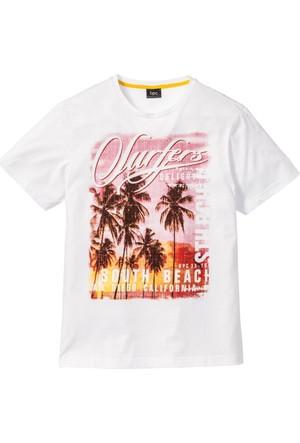 Bpc Bonprix Collection Beyaz Fotoğraf Baskılı T-Shirt Regular Fit