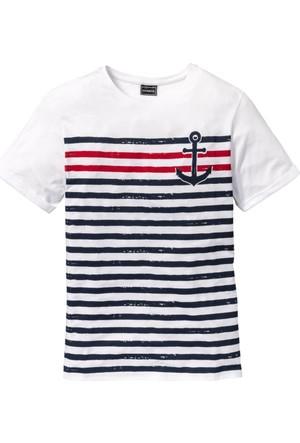 Rainbow Erkek Beyaz T-Shirt Slim Fit