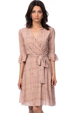 İroni İspanyol Kol Pudra Şifon Elbise