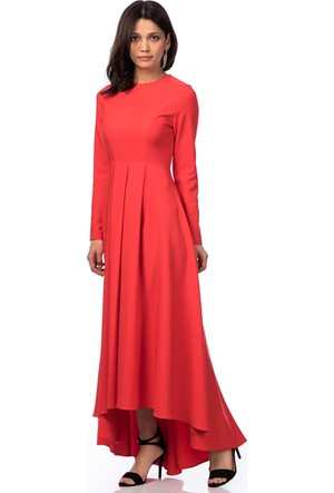 İroni Uzun Kollu Pilili Mercan Uzun Elbise