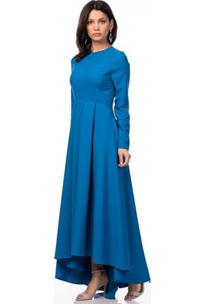 İroni Uzun Kollu Pilili Saks Uzun Elbise
