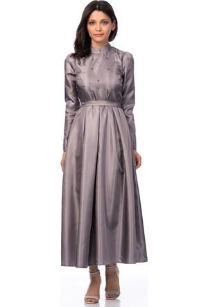İroni İnci İşlemeli Gri Uzun Elbise
