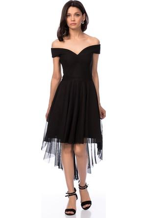 İroni Kayık Yaka Tül Mini Siyah Abiye Elbise