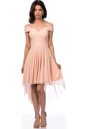 İroni Kayık Yaka Tül Mini Somon Abiye Elbise