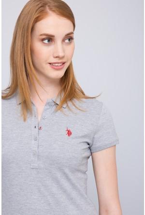 U.S. Polo Assn. Kadın Gtp-Iy07 Polo T-Shirt Gri Melanj